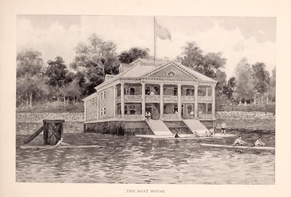 Photo of boathouse ca. 1897 (p. 43 Columbia University, 1897. https://archive.org/stream/columbiauniversi00colu_0#page/43/mode/1up