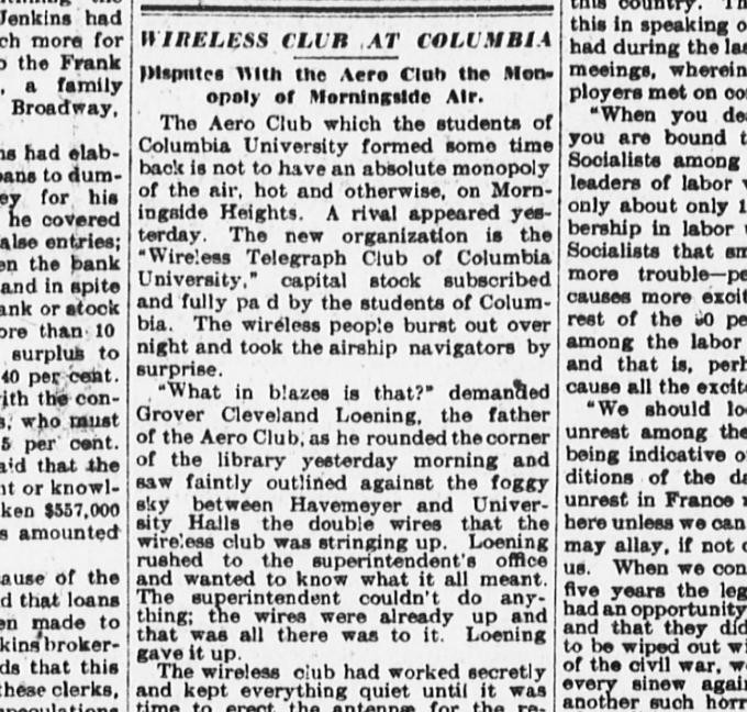"Image of newspaper article entitled: ""Wireless Club at Columbia"""
